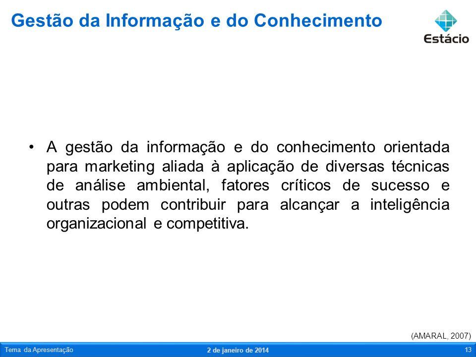 A gestão da informação e do conhecimento orientada para marketing aliada à aplicação de diversas técnicas de análise ambiental, fatores críticos de su
