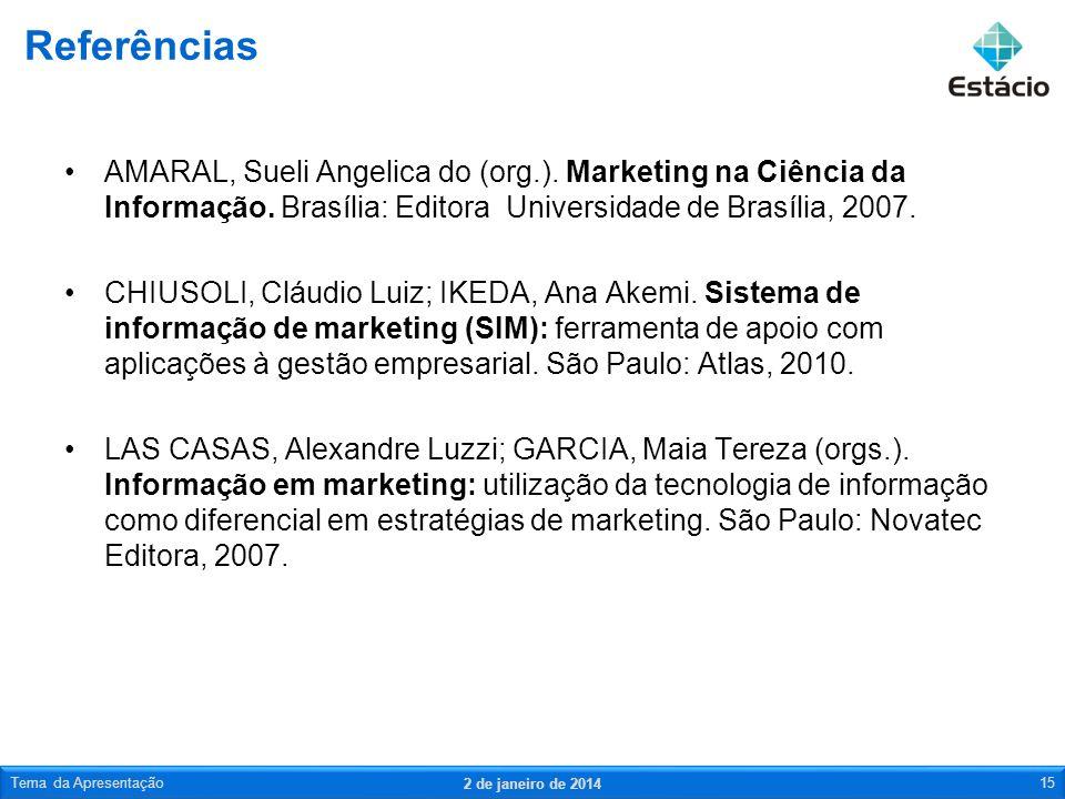 AMARAL, Sueli Angelica do (org.). Marketing na Ciência da Informação. Brasília: Editora Universidade de Brasília, 2007. CHIUSOLI, Cláudio Luiz; IKEDA,