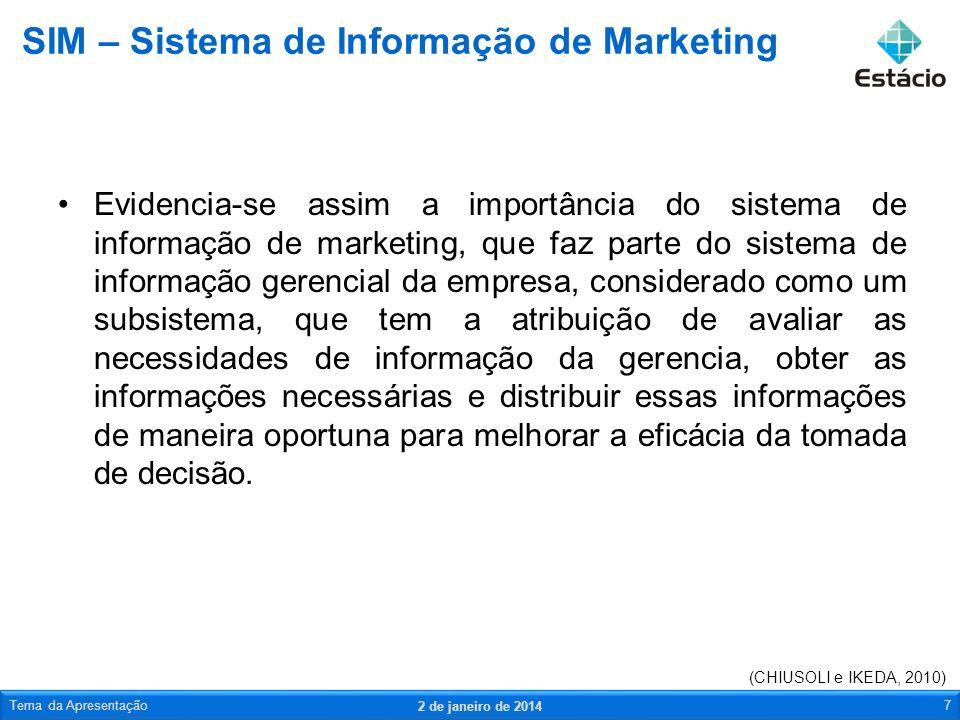 Evidencia-se assim a importância do sistema de informação de marketing, que faz parte do sistema de informação gerencial da empresa, considerado como