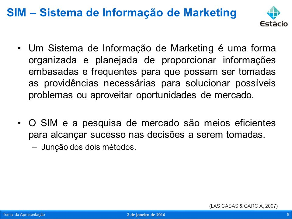 Um Sistema de Informação de Marketing é uma forma organizada e planejada de proporcionar informações embasadas e frequentes para que possam ser tomada