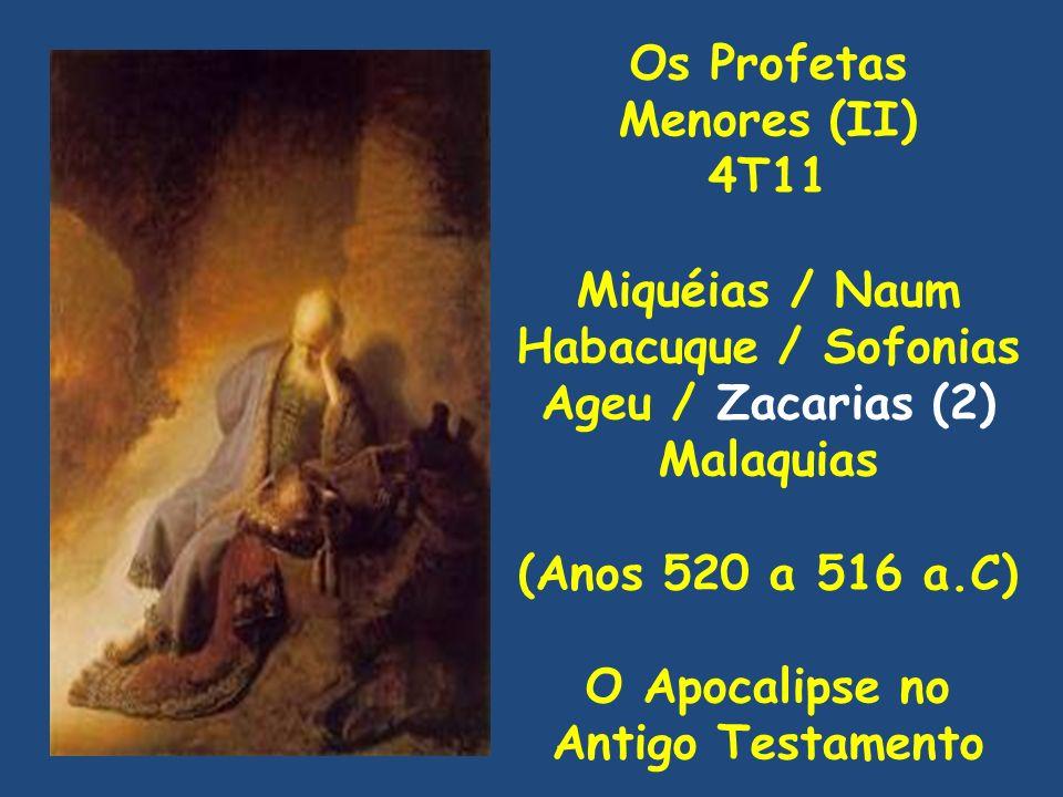 Os Profetas Menores (II) 4T11 Miquéias / Naum Habacuque / Sofonias Ageu / Zacarias (2) Malaquias (Anos 520 a 516 a.C) O Apocalipse no Antigo Testament