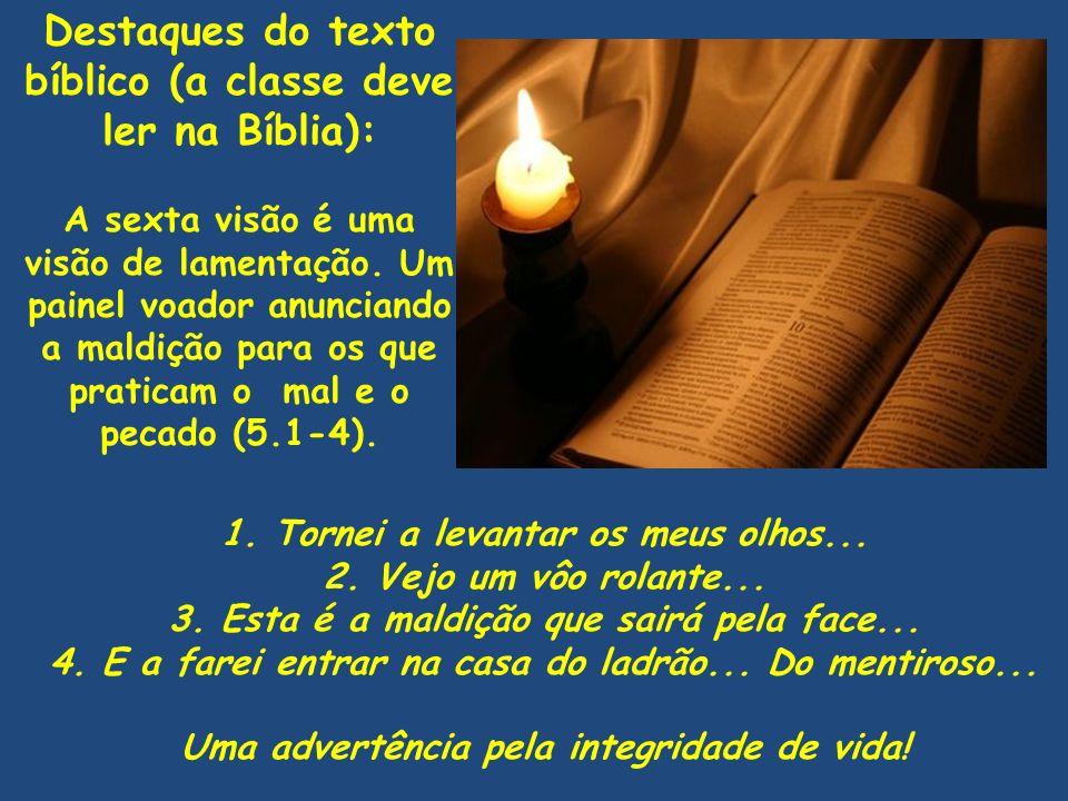 Destaques do texto bíblico (a classe deve ler na Bíblia): A sexta visão é uma visão de lamentação. Um painel voador anunciando a maldição para os que