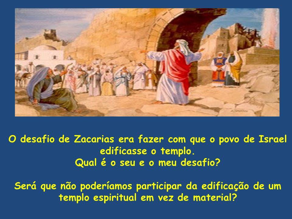 O desafio de Zacarias era fazer com que o povo de Israel edificasse o templo. Qual é o seu e o meu desafio? Será que não poderíamos participar da edif