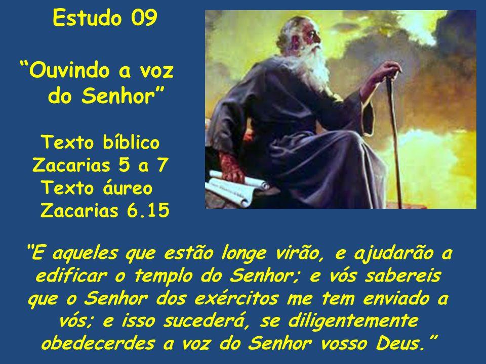 Texto bíblico Zacarias 5 a 7 Texto áureo Zacarias 6.15 E aqueles que estão longe virão, e ajudarão a edificar o templo do Senhor; e vós sabereis que o
