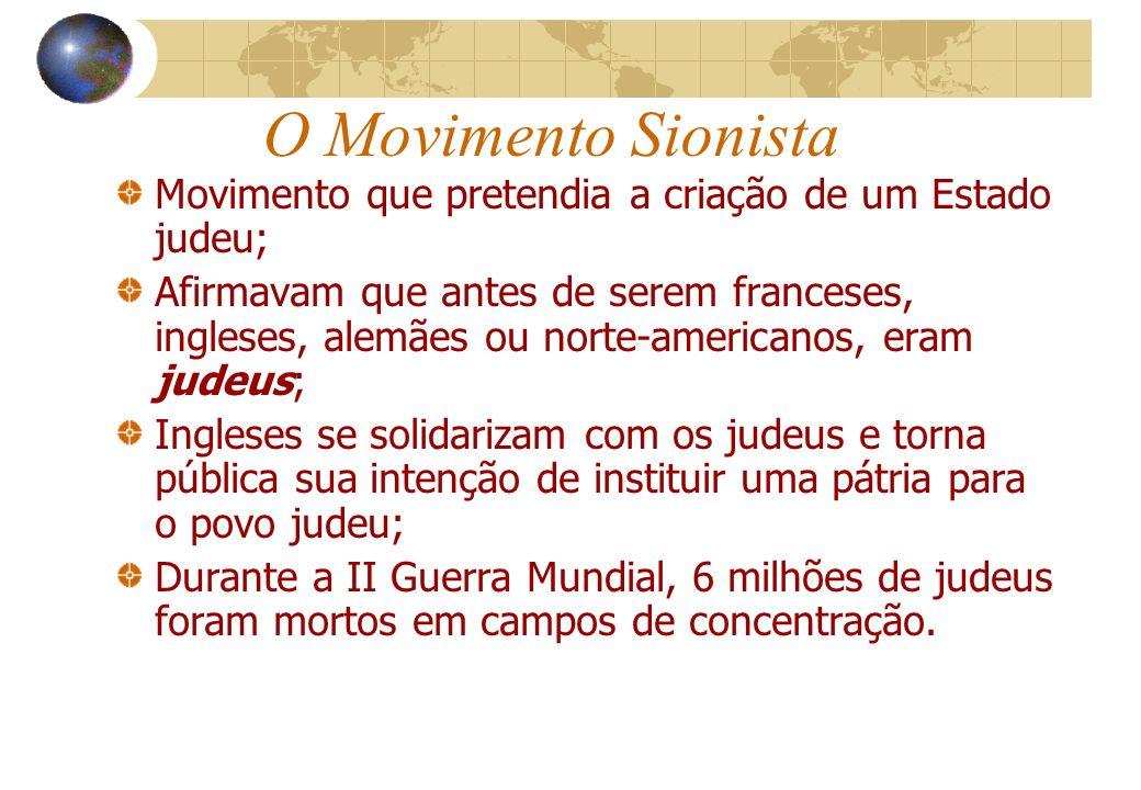 O Movimento Sionista Movimento que pretendia a criação de um Estado judeu; Afirmavam que antes de serem franceses, ingleses, alemães ou norte-american