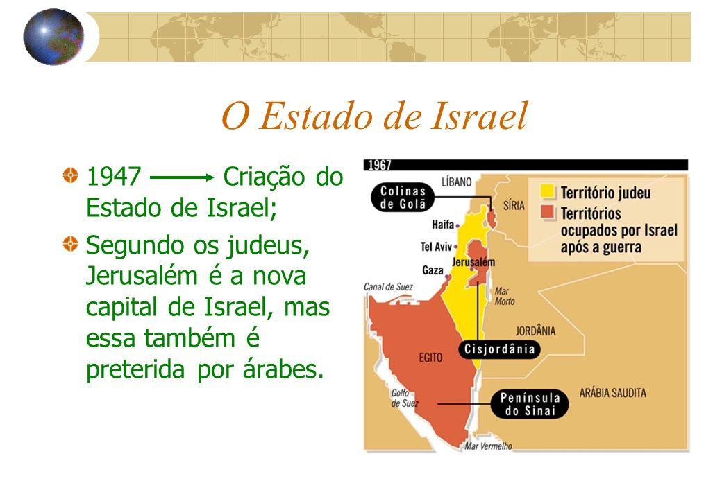 O Estado de Israel 1947 Criação do Estado de Israel; Segundo os judeus, Jerusalém é a nova capital de Israel, mas essa também é preterida por árabes.