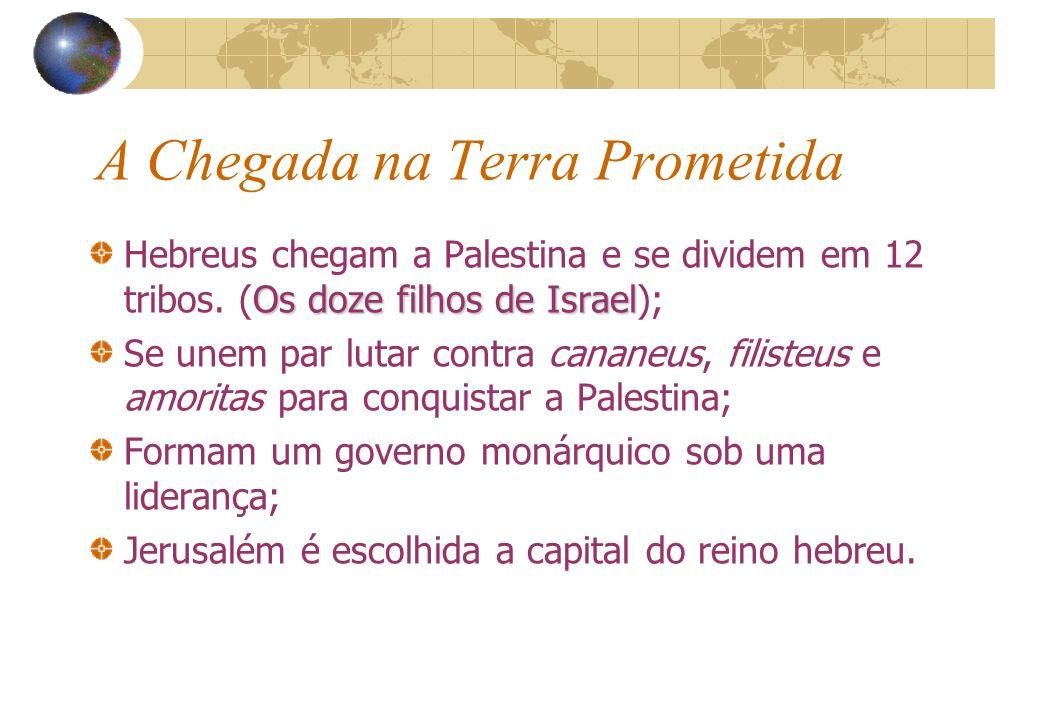 A Chegada na Terra Prometida Os doze filhos de Israel Hebreus chegam a Palestina e se dividem em 12 tribos. (Os doze filhos de Israel); Se unem par lu