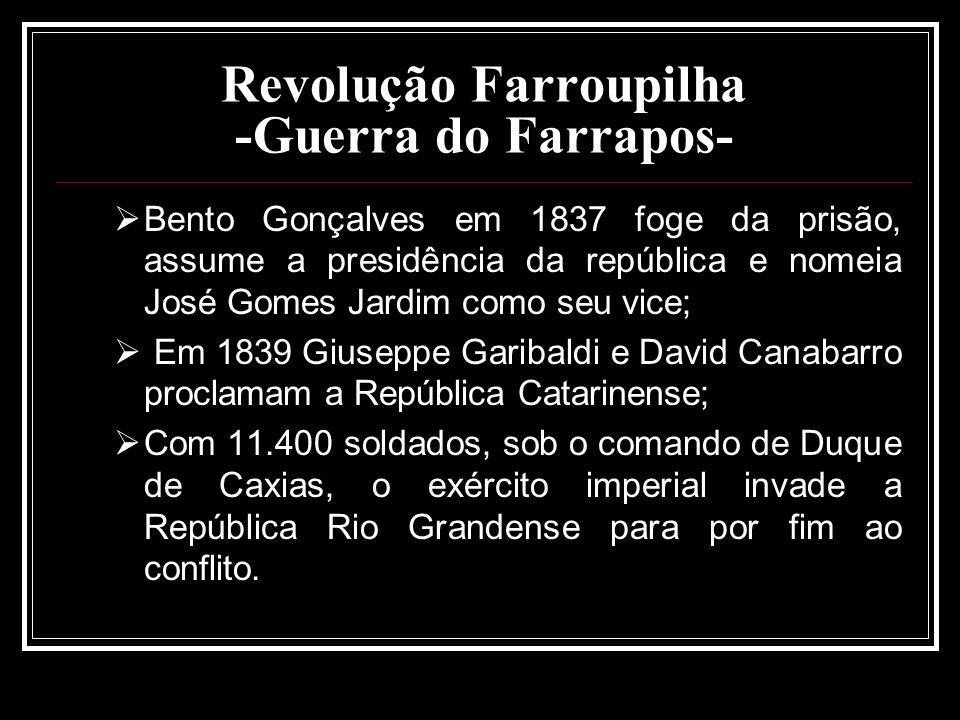 Revolução Farroupilha -Guerra do Farrapos- Bento Gonçalves em 1837 foge da prisão, assume a presidência da república e nomeia José Gomes Jardim como s