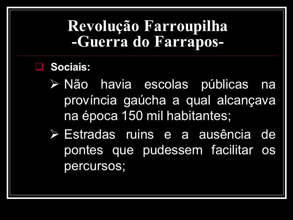 Revolução Farroupilha -Guerra do Farrapos- Sociais: Não havia escolas públicas na província gaúcha a qual alcançava na época 150 mil habitantes; Estra