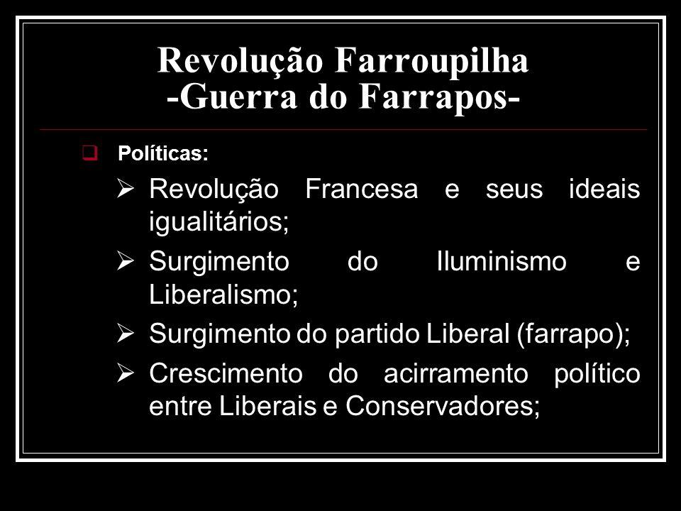 Revolução Farroupilha -Guerra do Farrapos- Políticas: Revolução Francesa e seus ideais igualitários; Surgimento do Iluminismo e Liberalismo; Surgiment