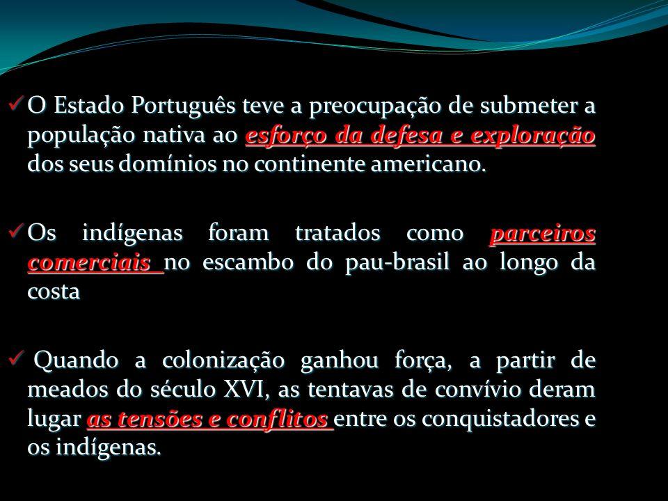 O Estado Português teve a preocupação de submeter a população nativa ao esforço da defesa e exploração dos seus domínios no continente americano. O Es