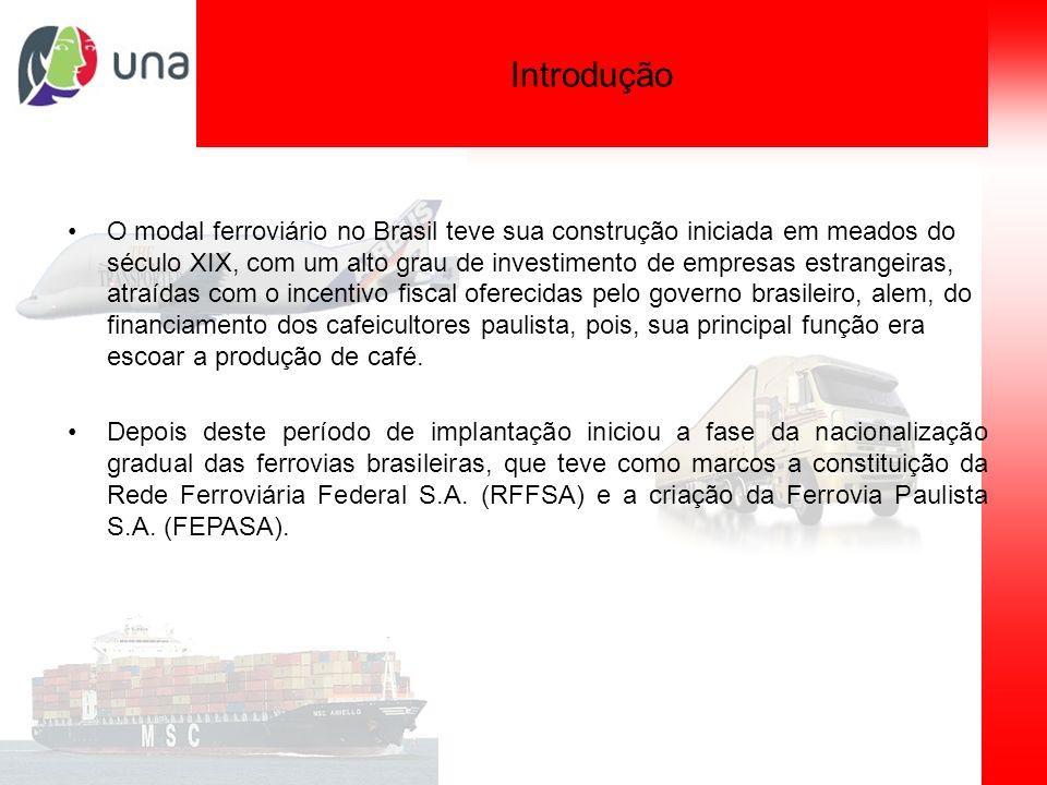 Planejamento de sistemas de transporte Introdução O modal ferroviário no Brasil teve sua construção iniciada em meados do século XIX, com um alto grau