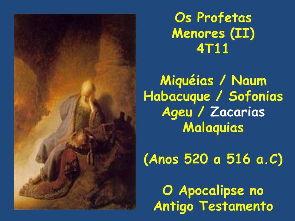 Os Profetas Menores (II) 4T11 Miquéias / Naum Habacuque / Sofonias Ageu / Zacarias Malaquias (Anos 520 a 516 a.C) O Apocalipse no Antigo Testamento