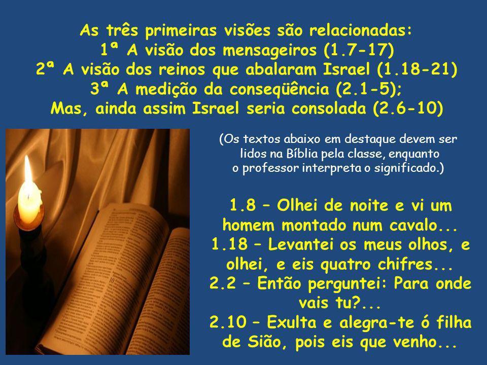 As três primeiras visões são relacionadas: 1ª A visão dos mensageiros (1.7-17) 2ª A visão dos reinos que abalaram Israel (1.18-21) 3ª A medição da con