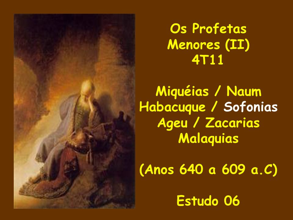 Neste domingo passamos ao livro do quarto profeta dos chamados menores nesta nossa segunda etapa.