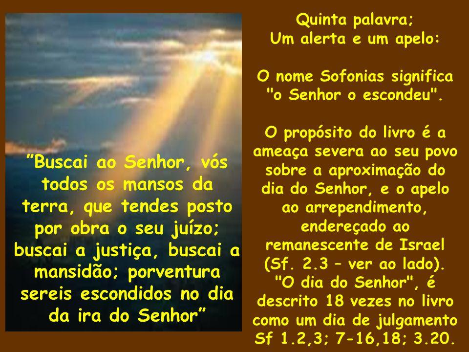 Quinta palavra; Um alerta e um apelo: O nome Sofonias significa