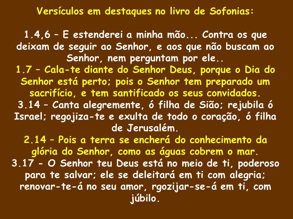 Versículos em destaques no livro de Sofonias: 1.4,6 – E estenderei a minha mão... Contra os que deixam de seguir ao Senhor, e aos que não buscam ao Se
