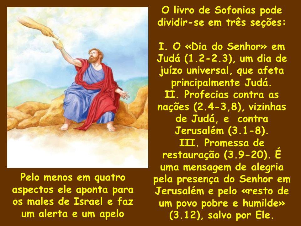 O livro de Sofonias pode dividir-se em três seções: I. O «Dia do Senhor» em Judá (1.2-2.3), um dia de juízo universal, que afeta principalmente Judá.