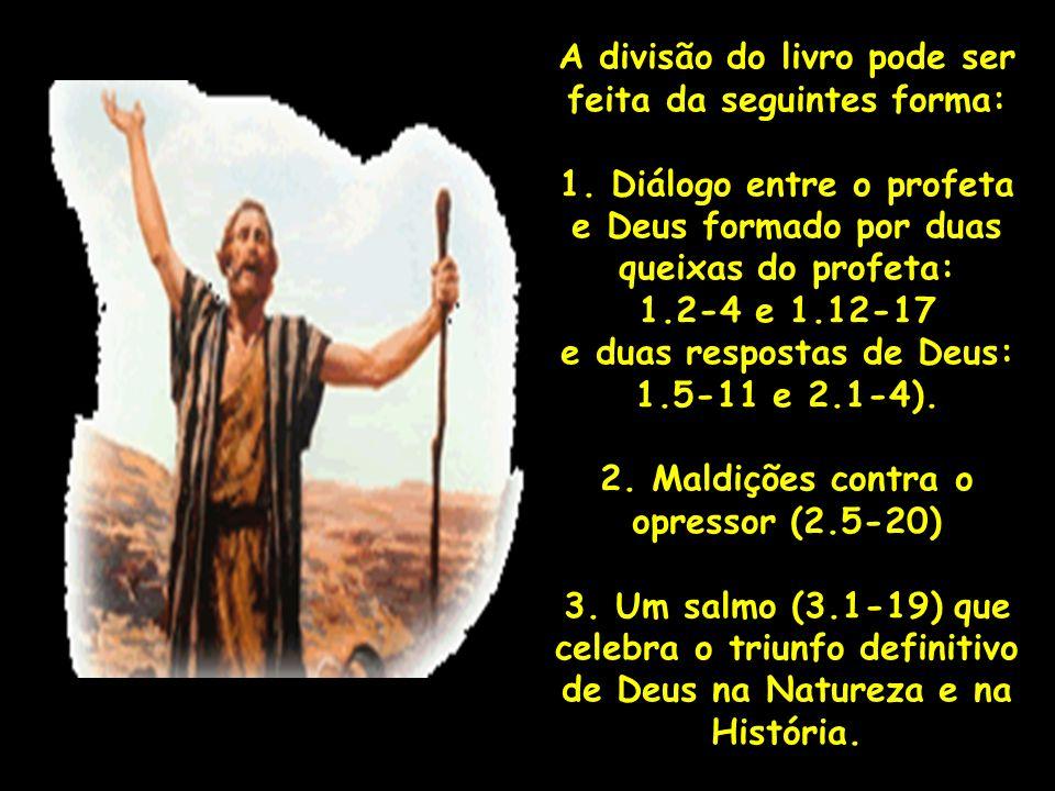 A divisão do livro pode ser feita da seguintes forma: 1. Diálogo entre o profeta e Deus formado por duas queixas do profeta: 1.2-4 e 1.12-17 e duas re