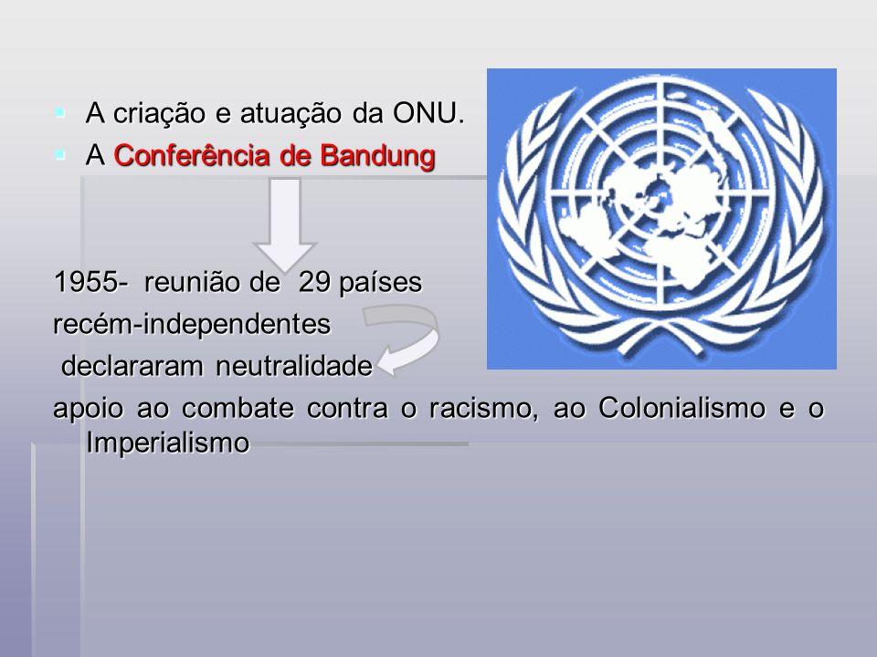 A criação e atuação da ONU. A criação e atuação da ONU. A Conferência de Bandung A Conferência de Bandung 1955- reunião de 29 países recém-independent