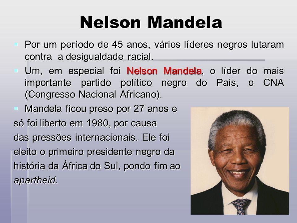 Nelson Mandela Por um período de 45 anos, vários líderes negros lutaram contra a desigualdade racial. Por um período de 45 anos, vários líderes negros