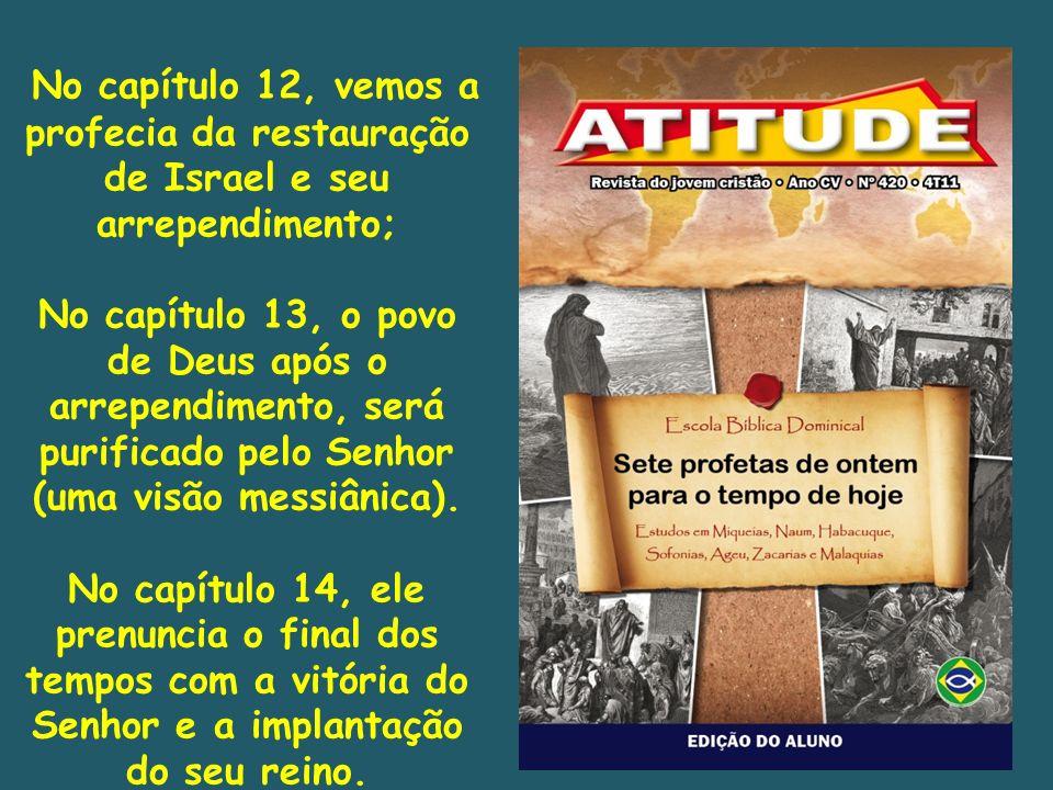 No capítulo 12, vemos a profecia da restauração de Israel e seu arrependimento; No capítulo 13, o povo de Deus após o arrependimento, será purificado