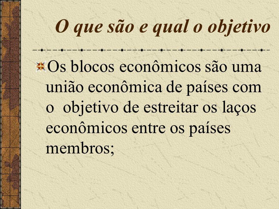 O que são e qual o objetivo Os blocos econômicos são uma união econômica de países com o objetivo de estreitar os laços econômicos entre os países mem