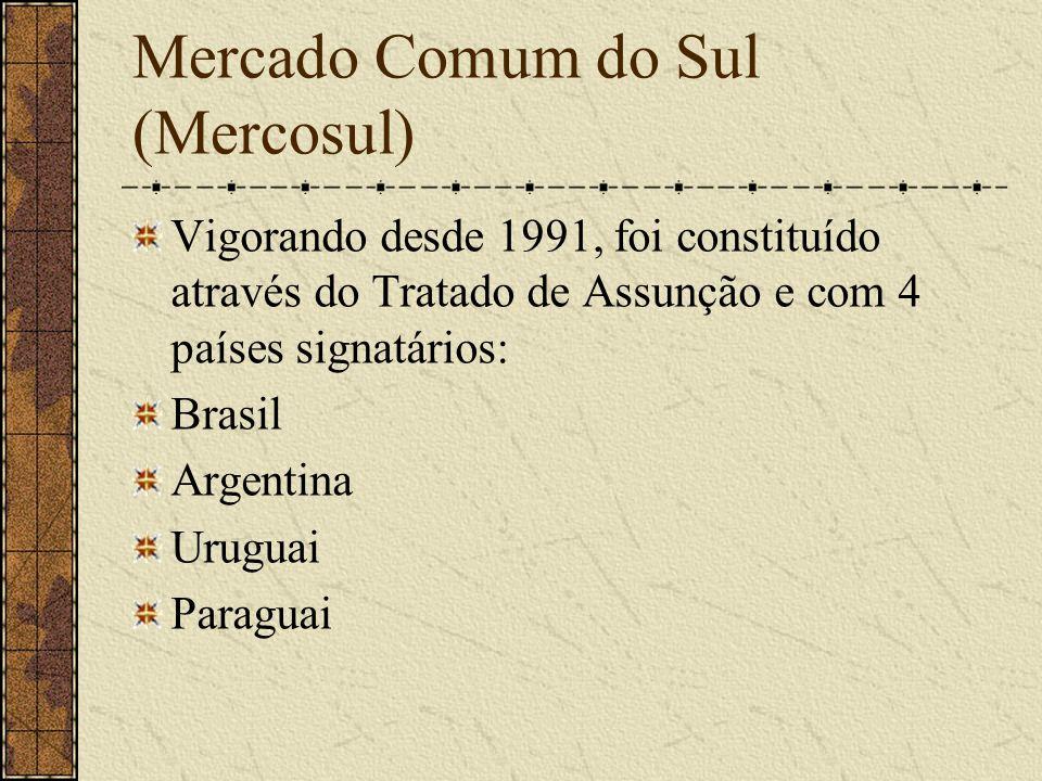 Mercado Comum do Sul (Mercosul) Vigorando desde 1991, foi constituído através do Tratado de Assunção e com 4 países signatários: Brasil Argentina Urug