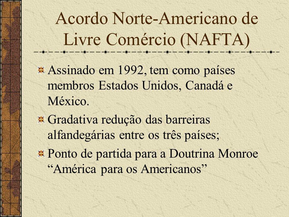 Acordo Norte-Americano de Livre Comércio (NAFTA) Assinado em 1992, tem como países membros Estados Unidos, Canadá e México. Gradativa redução das barr