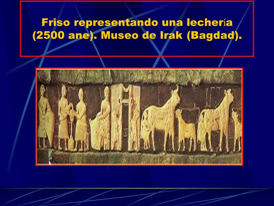 Friso representando una lecher í a (2500 ane). Museo de Irak (Bagdad).