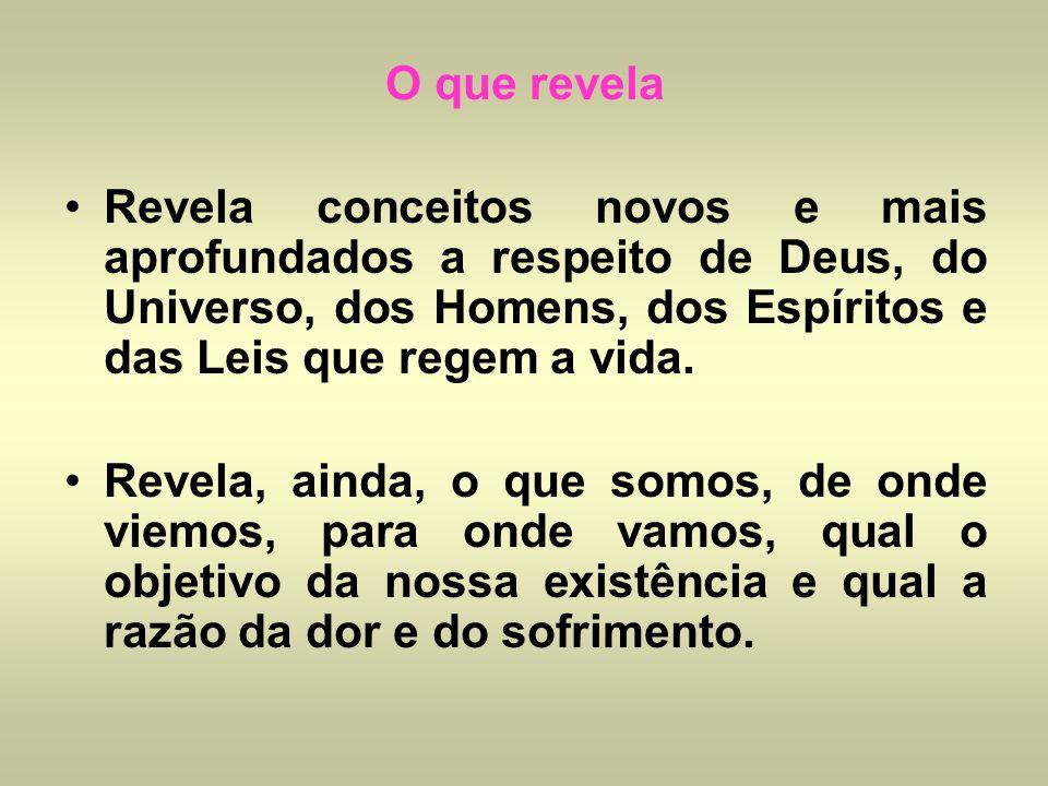 O que revela Revela conceitos novos e mais aprofundados a respeito de Deus, do Universo, dos Homens, dos Espíritos e das Leis que regem a vida. Revela