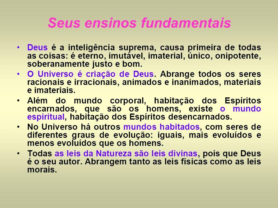 Deus é a inteligência suprema, causa primeira de todas as coisas: é eterno, imutável, imaterial, único, onipotente, soberanamente justo e bom. O Unive