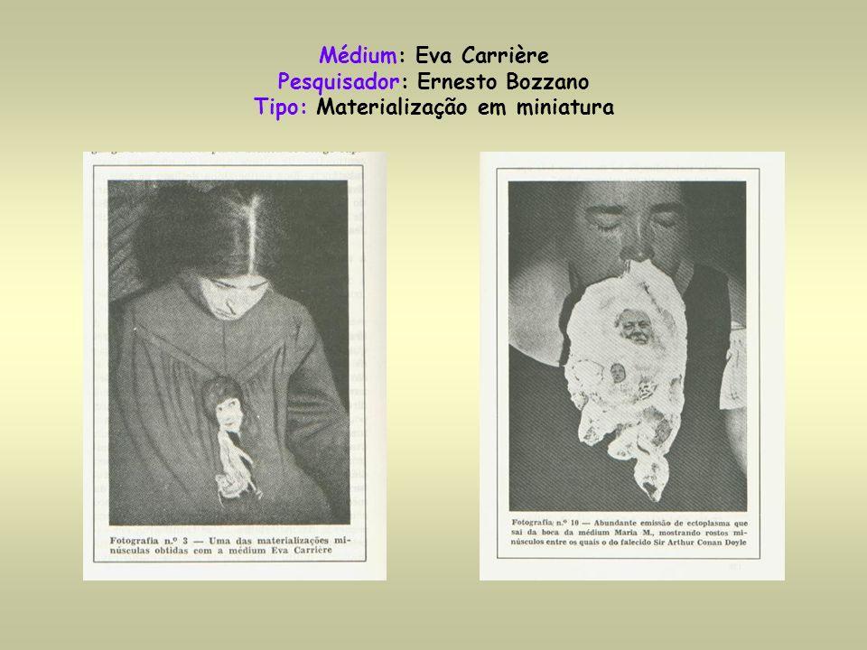 Médium: Eva Carrière Pesquisador: Ernesto Bozzano Tipo: Materialização em miniatura