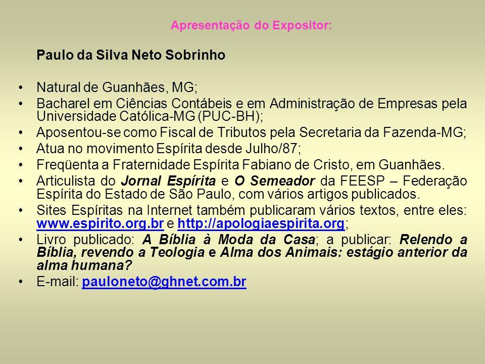 Apresentação do Expositor: Paulo da Silva Neto Sobrinho Natural de Guanhães, MG; Bacharel em Ciências Contábeis e em Administração de Empresas pela Un