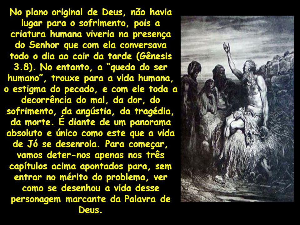 No plano original de Deus, não havia lugar para o sofrimento, pois a criatura humana viveria na presença do Senhor que com ela conversava todo o dia ao cair da tarde (Gênesis 3.8).