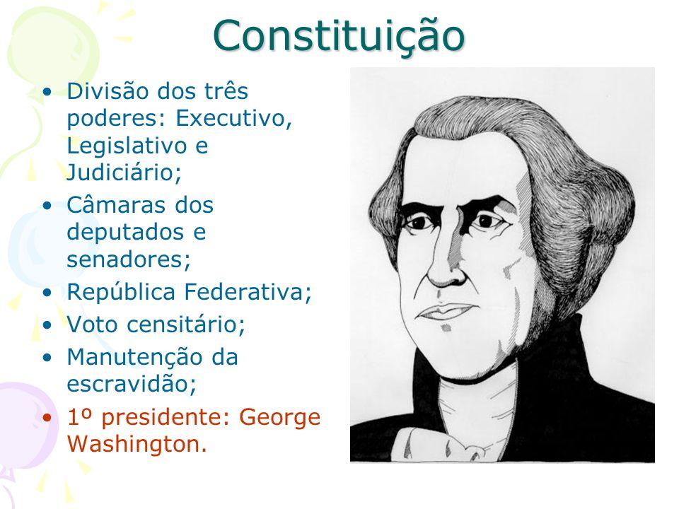 Constituição Divisão dos três poderes: Executivo, Legislativo e Judiciário; Câmaras dos deputados e senadores; República Federativa; Voto censitário;