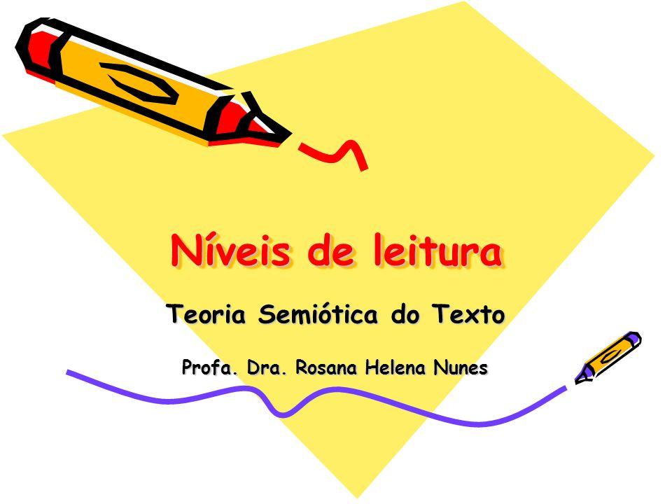 Níveis de leitura Teoria Semiótica do Texto Profa. Dra. Rosana Helena Nunes