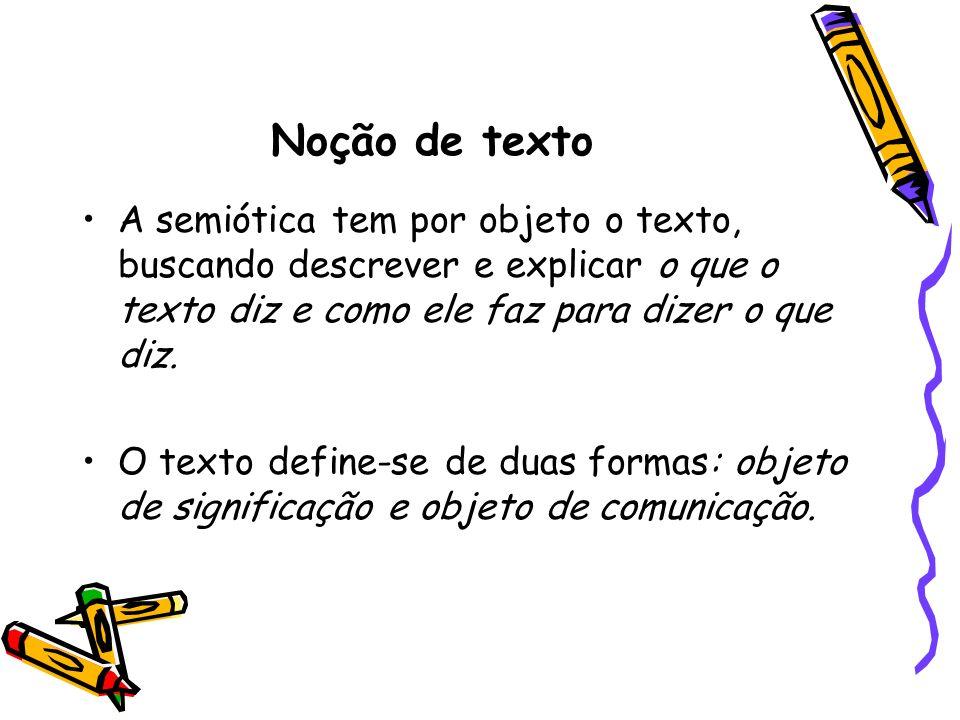 Noção de texto A semiótica tem por objeto o texto, buscando descrever e explicar o que o texto diz e como ele faz para dizer o que diz. O texto define