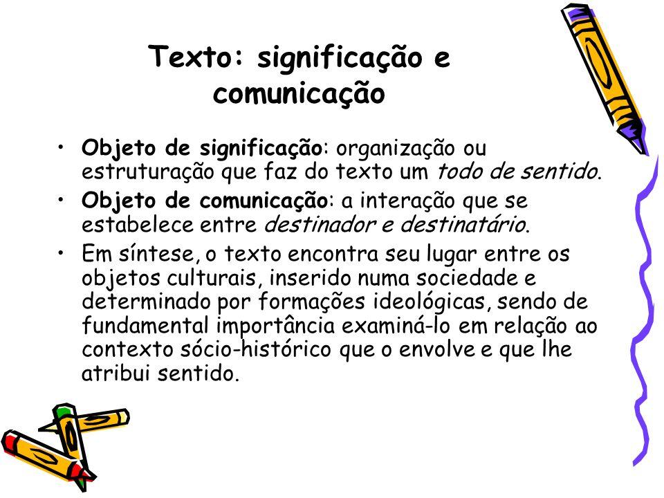Texto: significação e comunicação Objeto de significação: organização ou estruturação que faz do texto um todo de sentido. Objeto de comunicação: a in