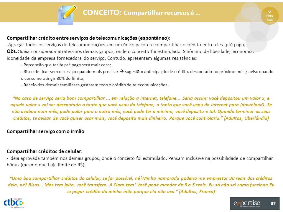 37 CONCEITO: Compartilhar recursos é … Compartilhar crédito entre serviços de telecomunicações (espontâneo): -Agregar todos os serviços de telecomunic