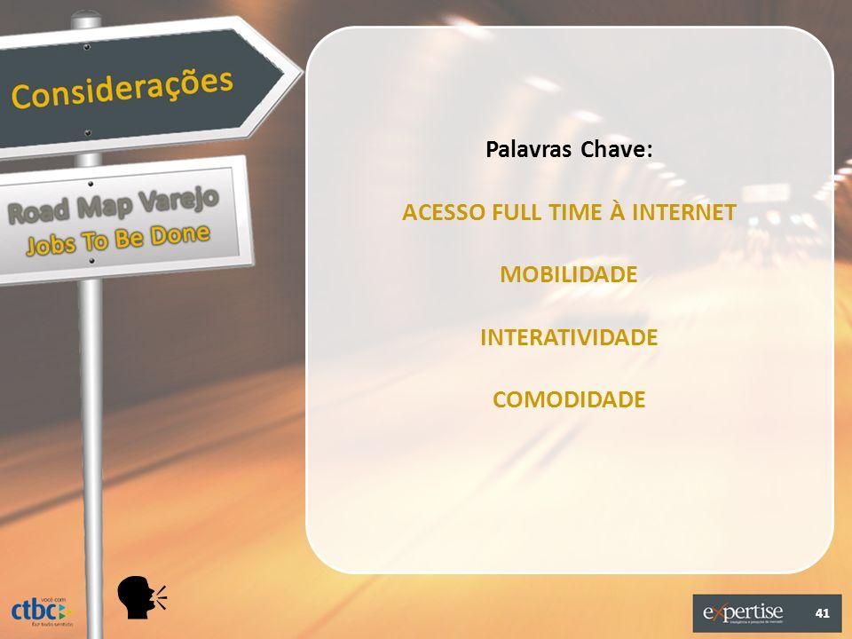 41 Palavras Chave: ACESSO FULL TIME À INTERNET MOBILIDADE INTERATIVIDADE COMODIDADE