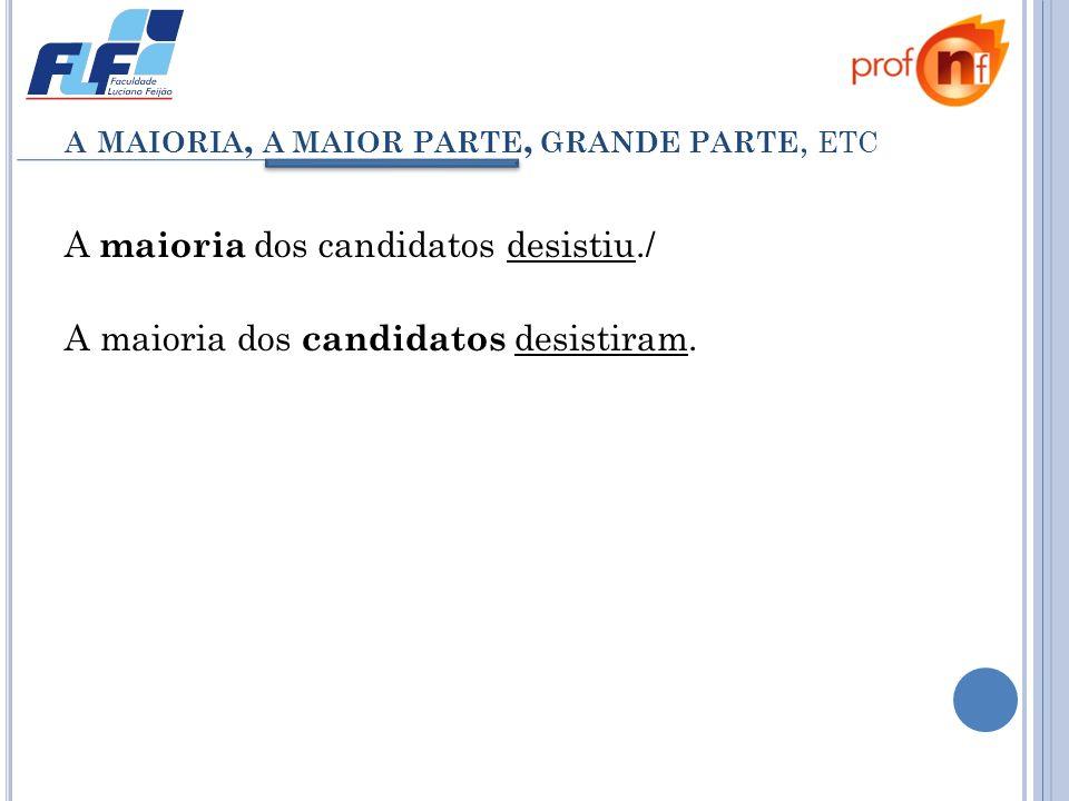 A MAIORIA, A MAIOR PARTE, GRANDE PARTE, ETC A maioria dos candidatos desistiu./ A maioria dos candidatos desistiram.
