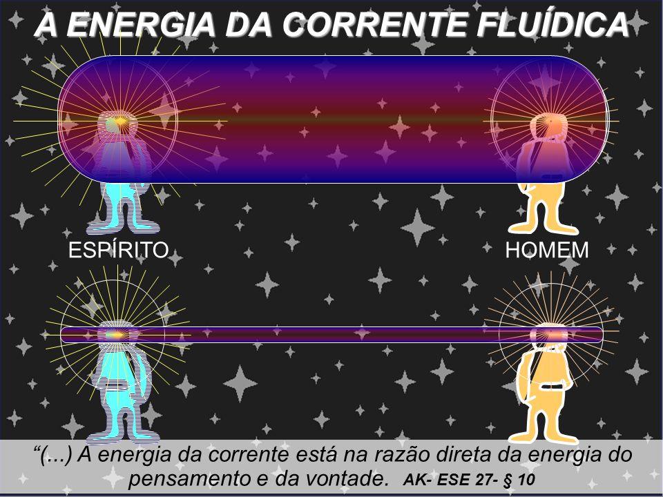 A ENERGIA DA CORRENTE FLUÍDICA (...) A energia da corrente está na razão direta da energia do pensamento e da vontade. AK- ESE 27- § 10 ESPÍRITOHOMEM