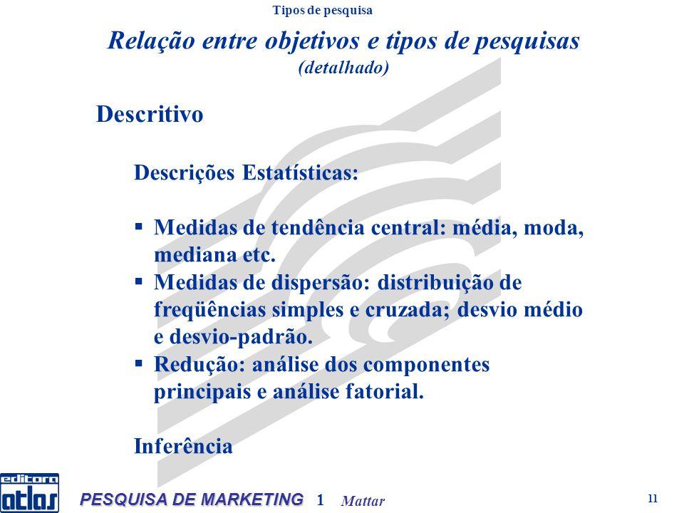 Mattar PESQUISA DE MARKETING 1 11 Descritivo Descrições Estatísticas: Medidas de tendência central: média, moda, mediana etc. Medidas de dispersão: di