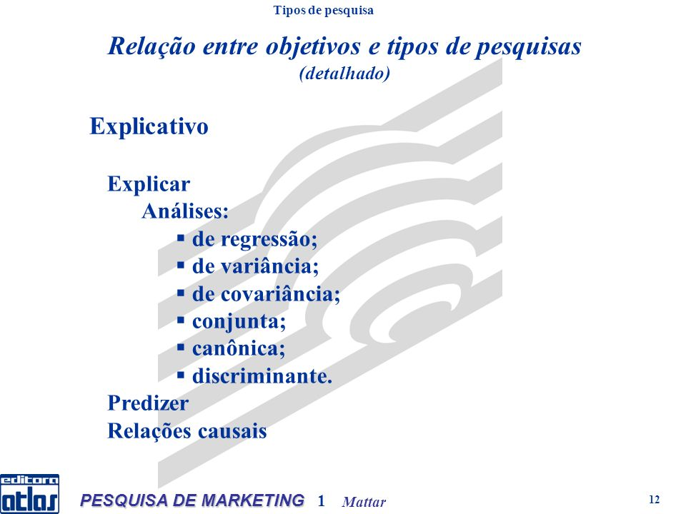 Mattar PESQUISA DE MARKETING 1 12 Explicativo Explicar Análises: de regressão; de variância; de covariância; conjunta; canônica; discriminante. Prediz