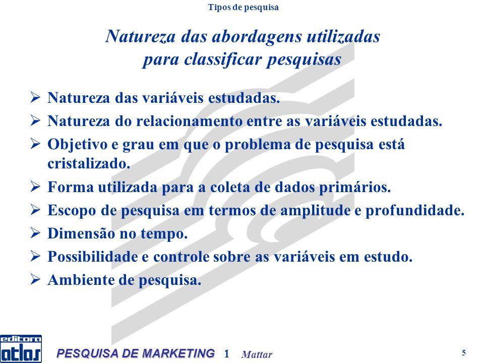 Mattar PESQUISA DE MARKETING 1 5 Natureza das abordagens utilizadas para classificar pesquisas Natureza das variáveis estudadas.