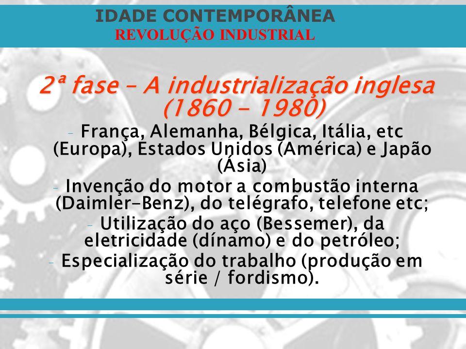 IDADE CONTEMPORÂNEA REVOLUÇÃO INDUSTRIAL 2ª fase – A industrialização inglesa (1860 - 1980) – França, Alemanha, Bélgica, Itália, etc (Europa), Estados
