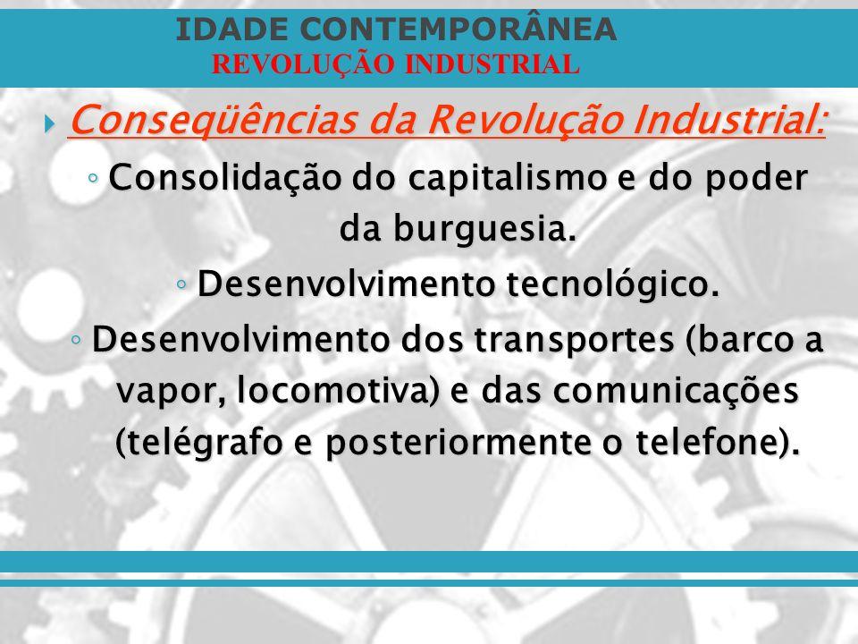 IDADE CONTEMPORÂNEA REVOLUÇÃO INDUSTRIAL Conseqüências da Revolução Industrial: Conseqüências da Revolução Industrial: Consolidação do capitalismo e d