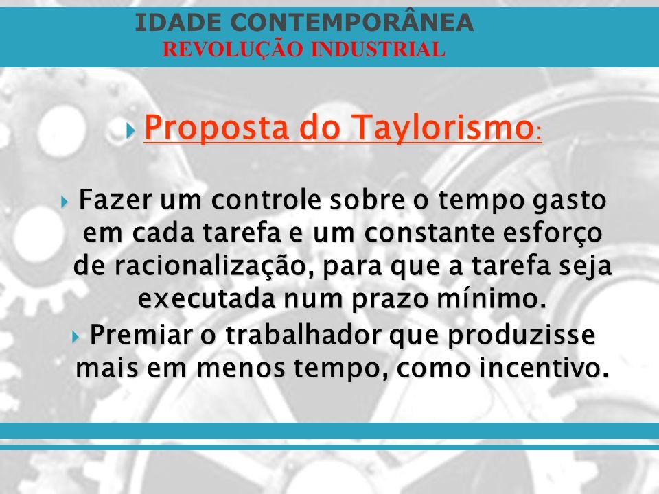 IDADE CONTEMPORÂNEA REVOLUÇÃO INDUSTRIAL Proposta do Taylorismo : Proposta do Taylorismo : Fazer um controle sobre o tempo gasto em cada tarefa e um c