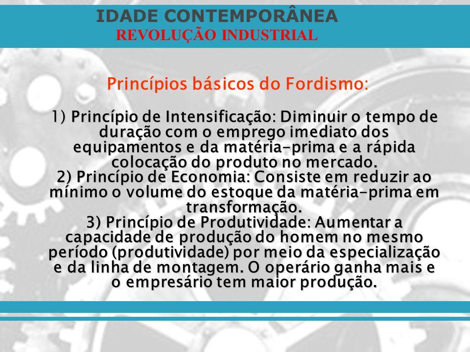 IDADE CONTEMPORÂNEA REVOLUÇÃO INDUSTRIAL 1) Princípio de Intensificação: Diminuir o tempo de duração com o emprego imediato dos equipamentos e da maté